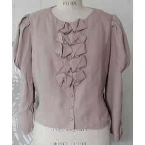 H&M TAUPE PUFF SLEEVE VICTORIAN TOPPER JACKET 12